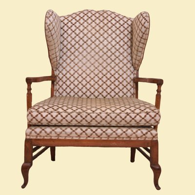 Wing Chair with Exposed Wood Frame Flocked Upholstery