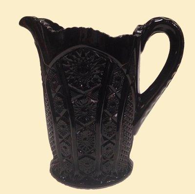 Vintage Heavy Black Milk Glass Monarch Pitcher
