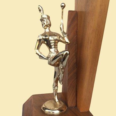 Majorette Baton Twirling Trophy - 3rd Place Strut Award Wood and Metal