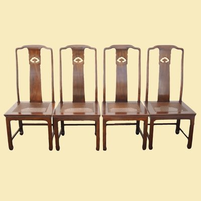 Henredon Asian Style Caned Seat Chairs - Set of 2