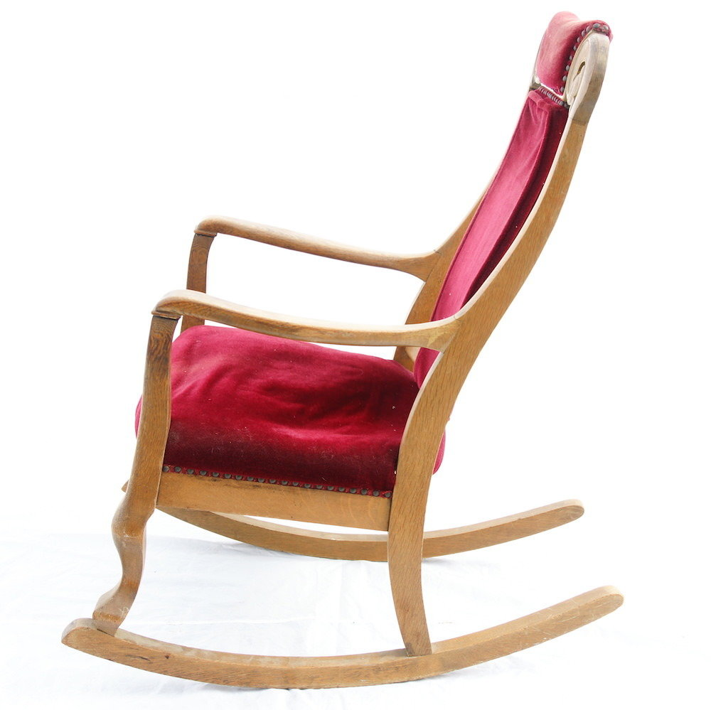 Antique Rocking Chair with Red Velvet Upholstery