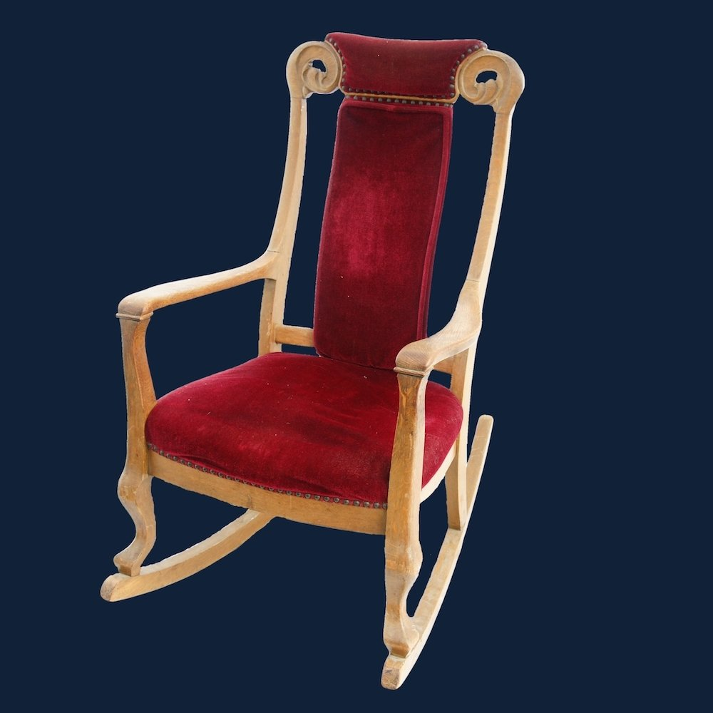 Antique Rocking Chair with Red Velvet Upholstery 00397