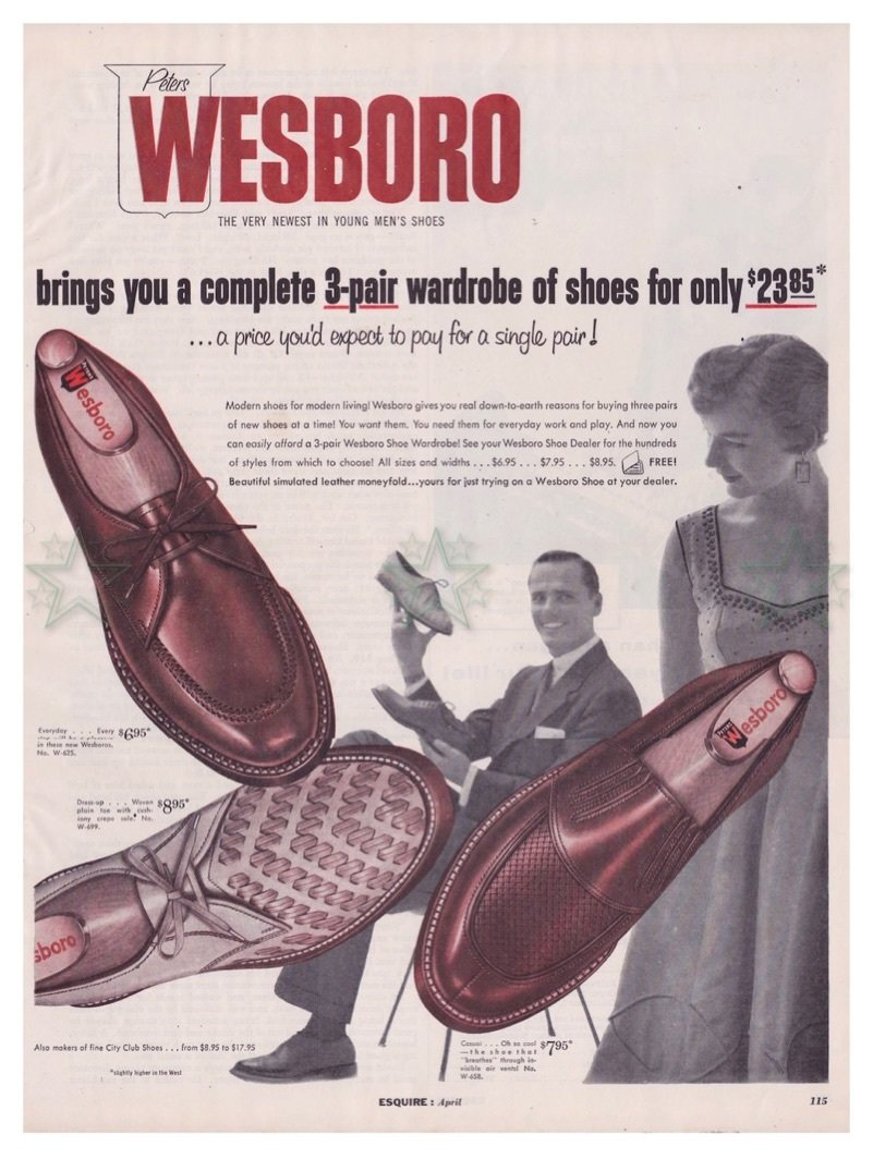 Wesboro Men's Shoes Ad 1950's