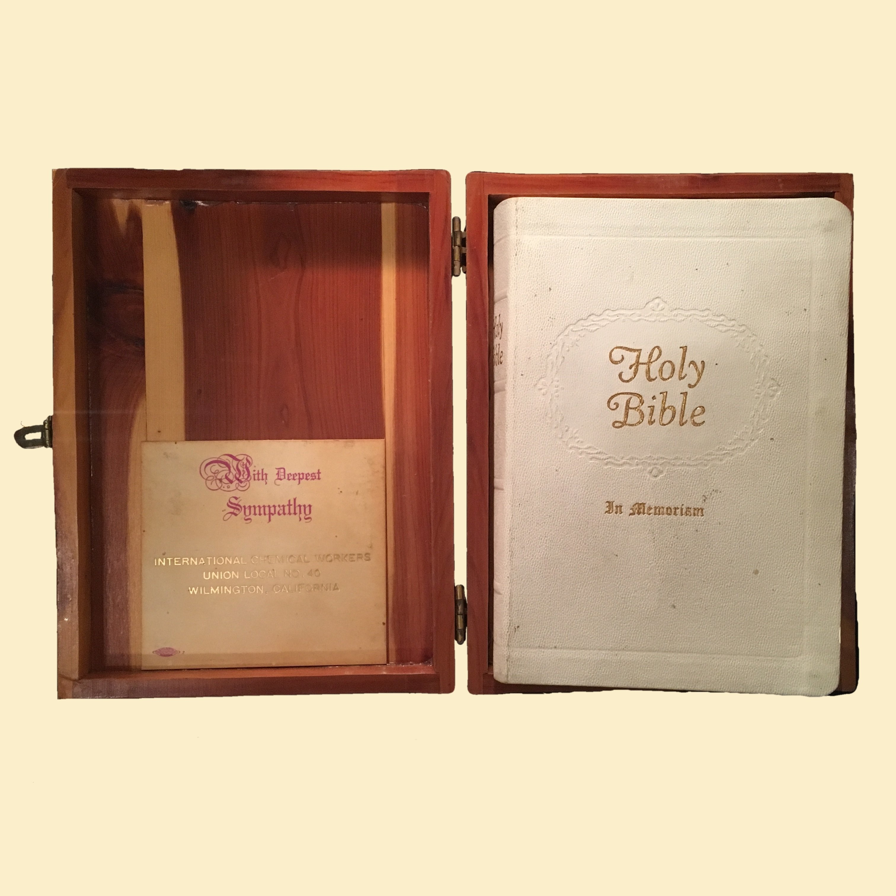 Bible Box - 1958 International Chemical Workers Bible in Cedar Box 00053