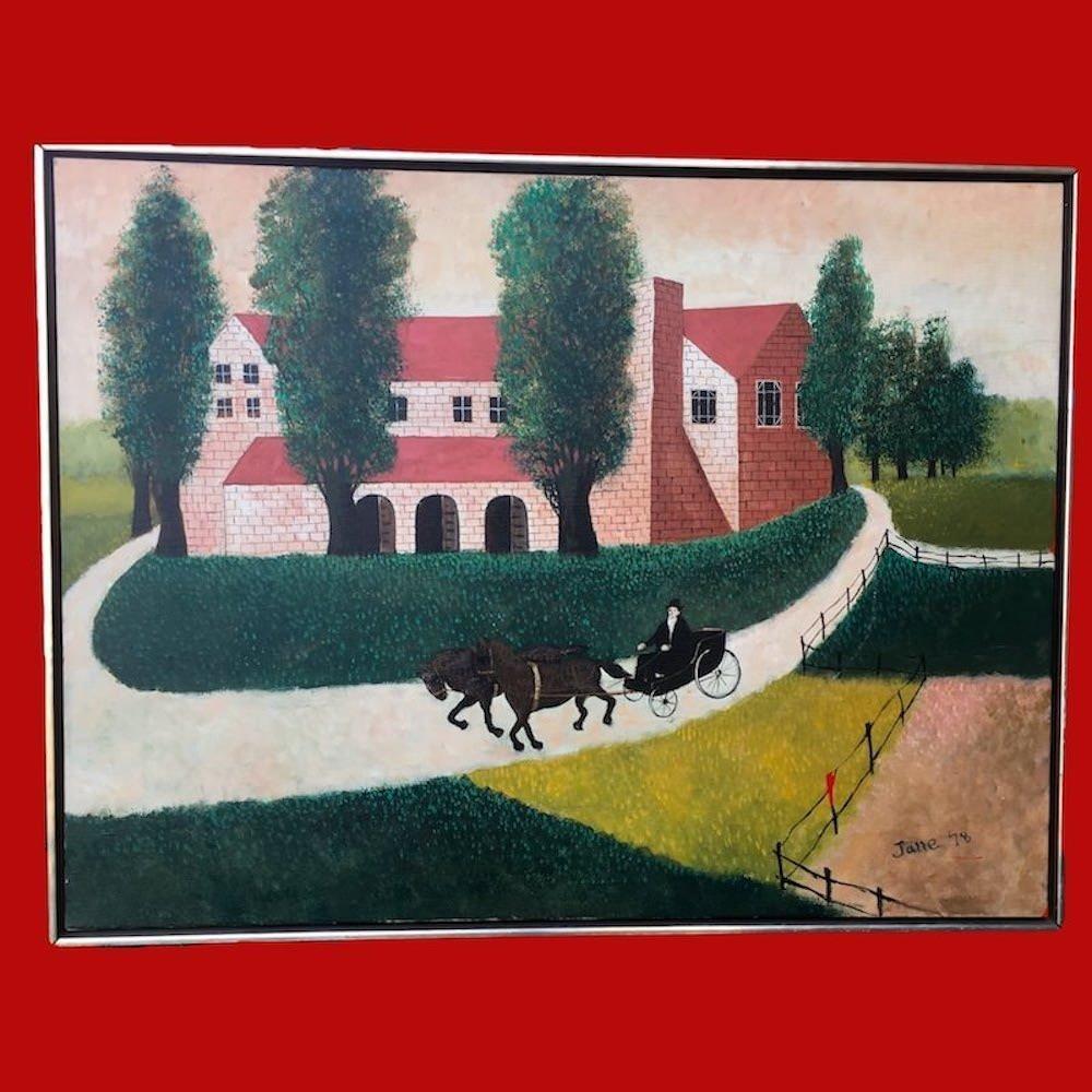Large Folk Art Painting signed Jane '78 Oil on Canvas 00271