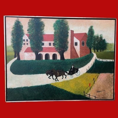 Large Folk Art Painting signed Jane '78 Oil on Canvas