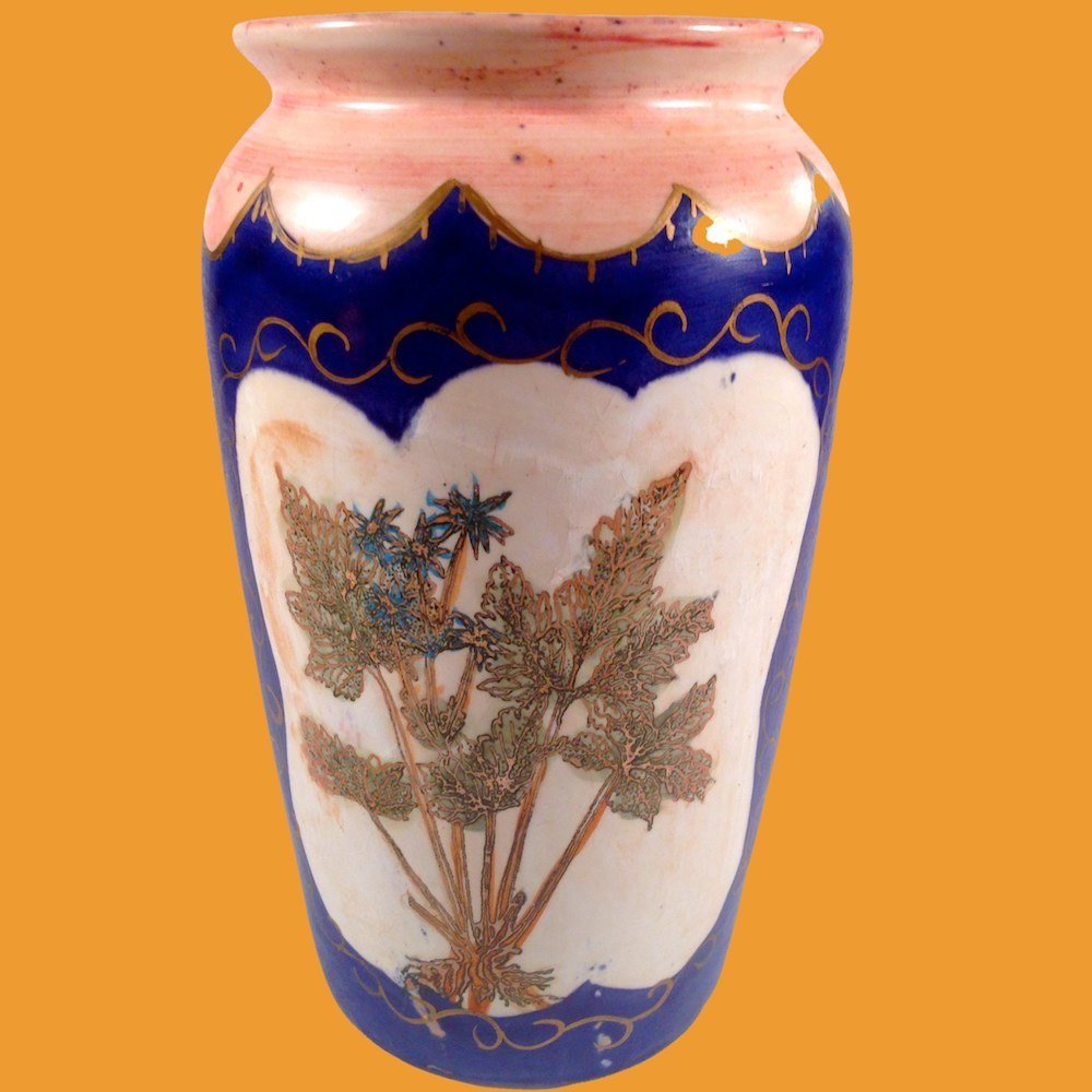 Painted Bohemian Vase Cobalt Blue Pink Ferns and Flowers 00038