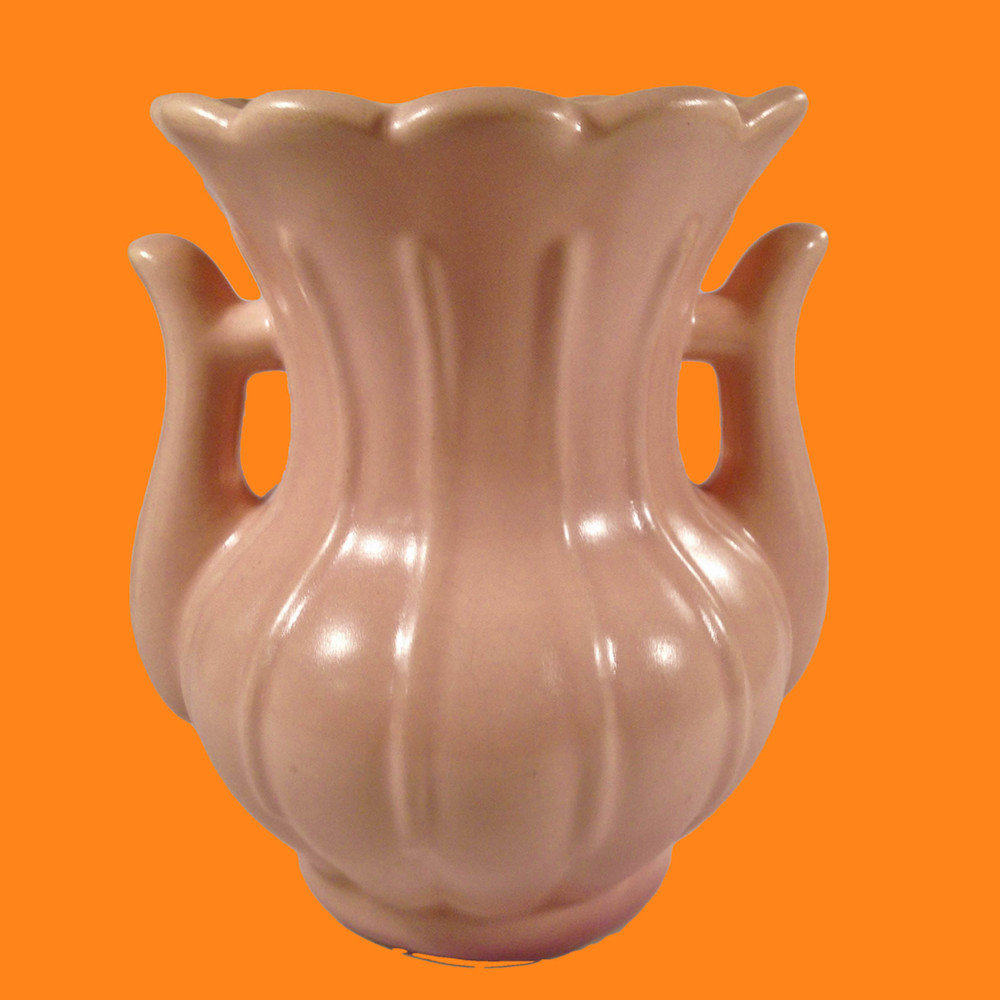 Rumrill Peach Two Handled Vase RPV330