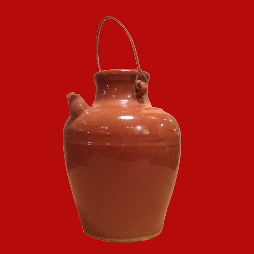 Stoneware Olive Oil Jug with Small Spout 00011