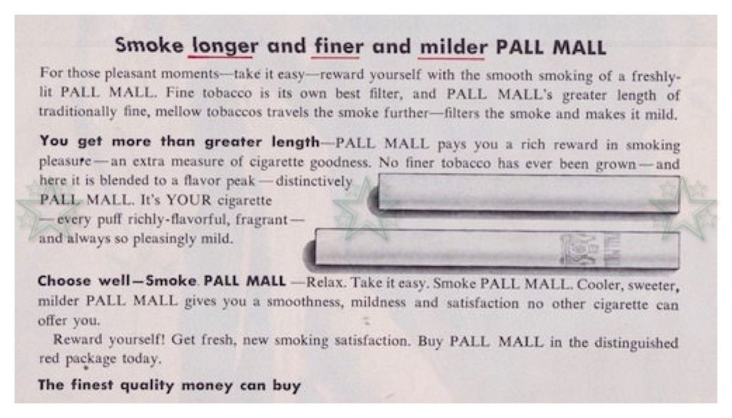 Pall Mall Magazine Advertisement Cigarettes Smoking - ORIGINAL