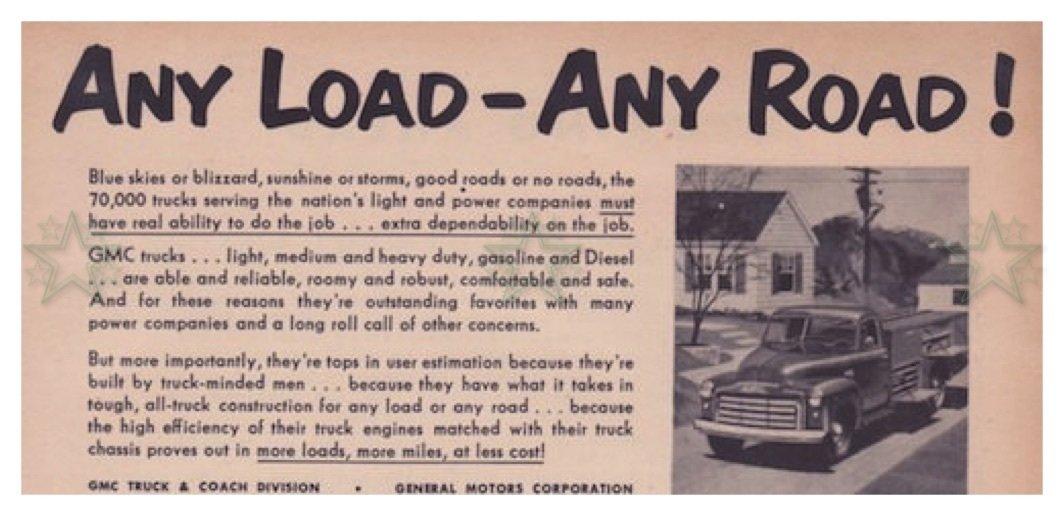 GMC Trucks Advertisement - Any Load Any Road - ORIGINAL Ad