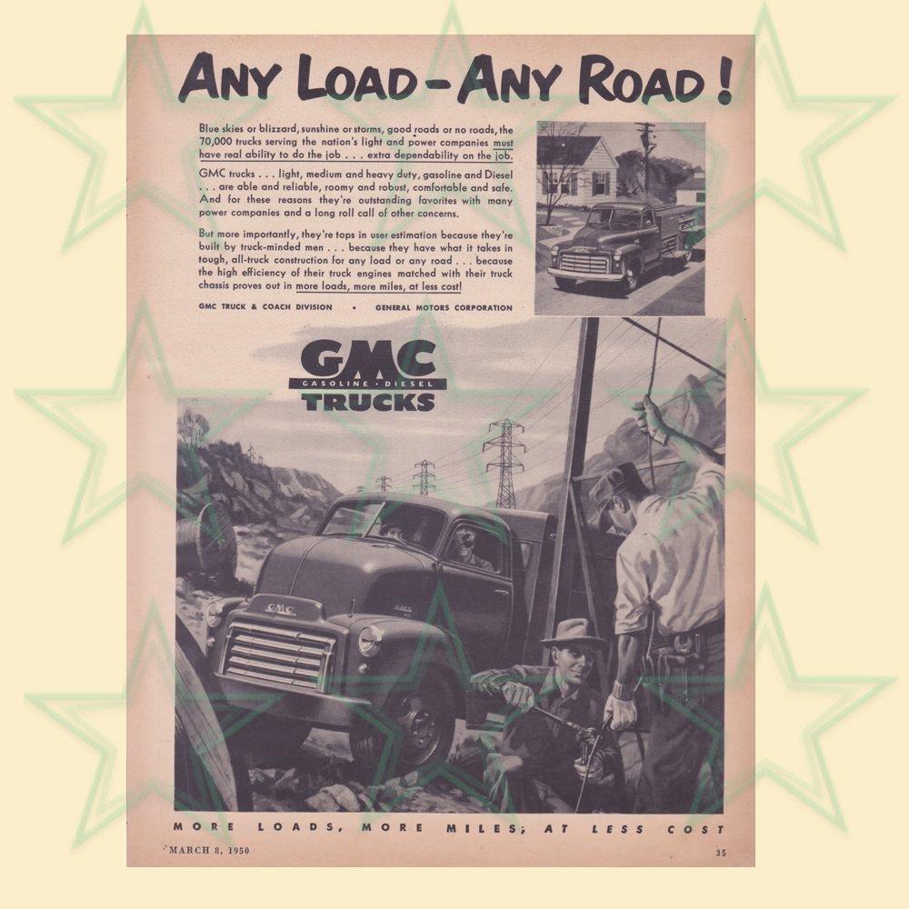 GMC Trucks Advertisement - Any Load Any Road - ORIGINAL Ad 00616