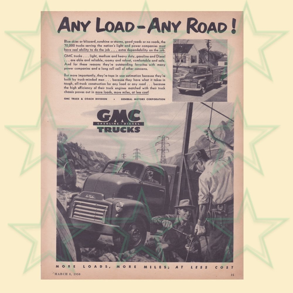 GMC Trucks Advertisement - Any Load Any Road - ORIGINAL Ad