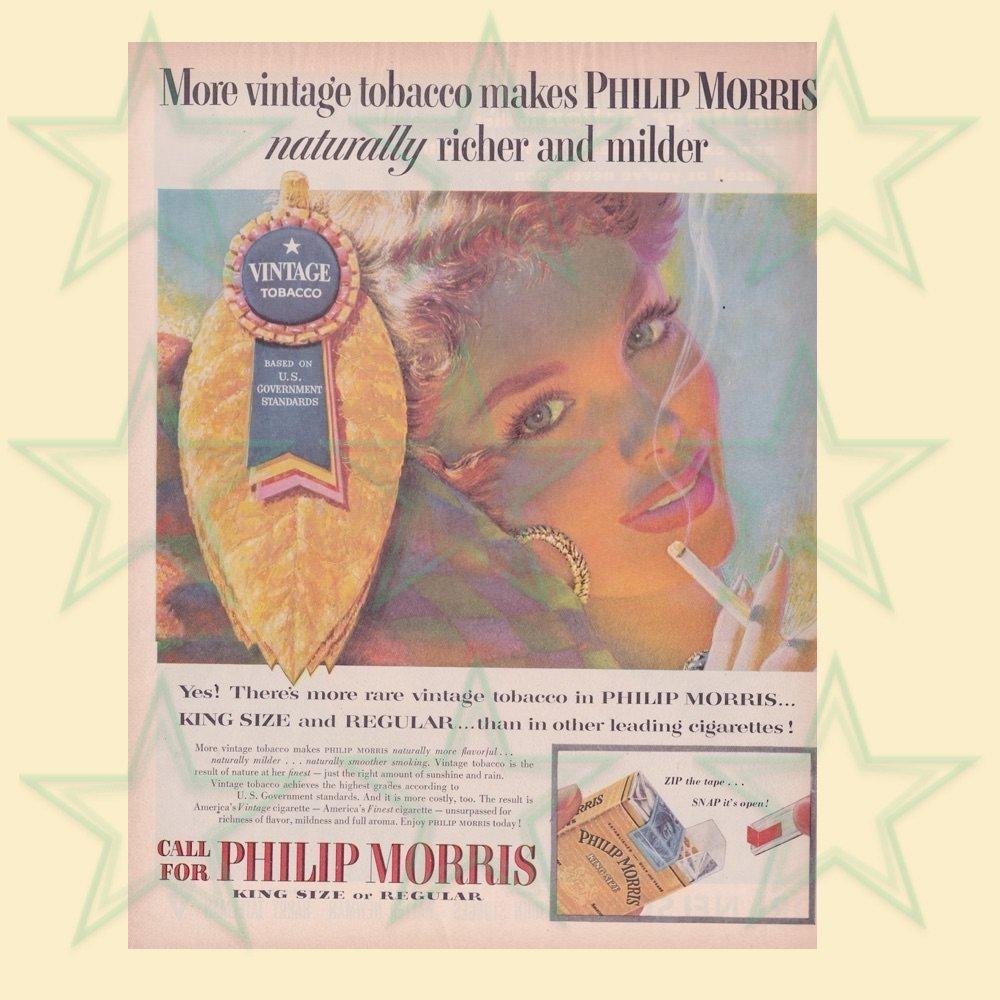 Philip Morris Cigarette Ad Vintage Tobacco Pretty Girl 1950's 00612