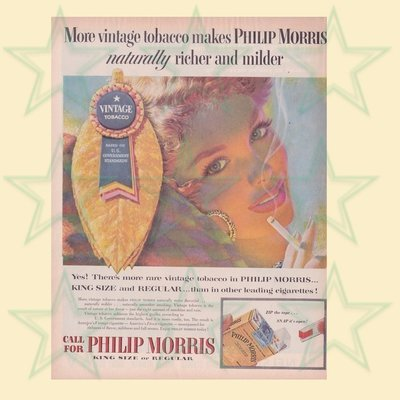 Philip Morris Cigarette Ad Vintage Tobacco Pretty Girl 1950's