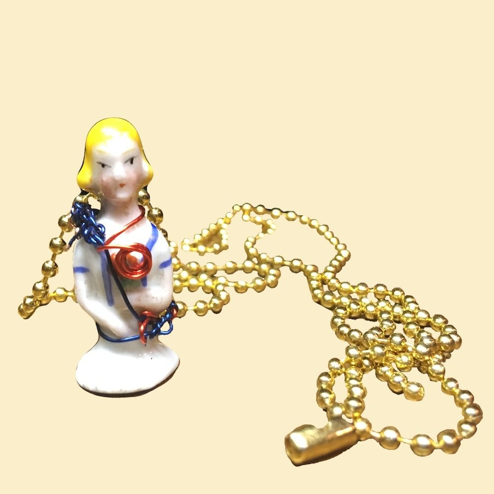 Tiny Porcelain Half-Doll Wire Wrapped Necklace | Handmade 00630