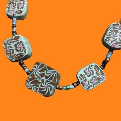 Polymer Clay Square Bead Choker Blue Brown White Pink