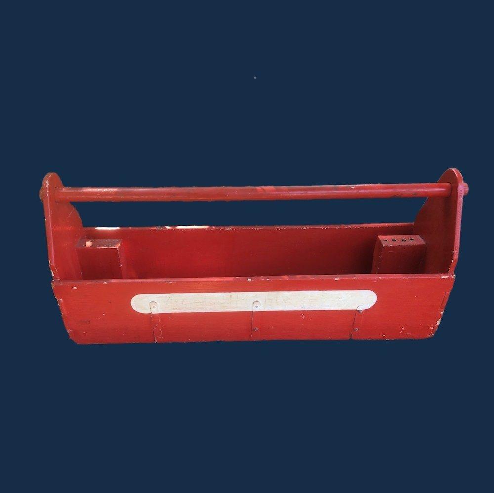 "32"" Long Red Tool Box Tote Box Farmhouse Decor Planter 00631"
