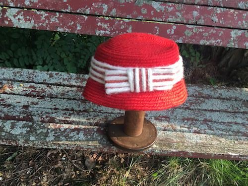 Vintage Red Knit Cloche Hat with White Bow Gayarn by Slocum Rare Supercute