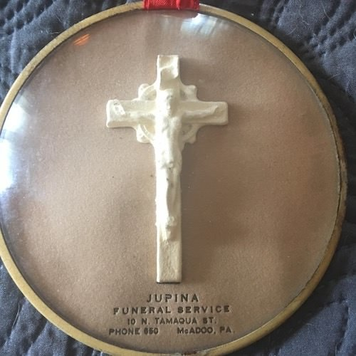 1930's Funeral Home Advertising Bubble Glass Crucifix