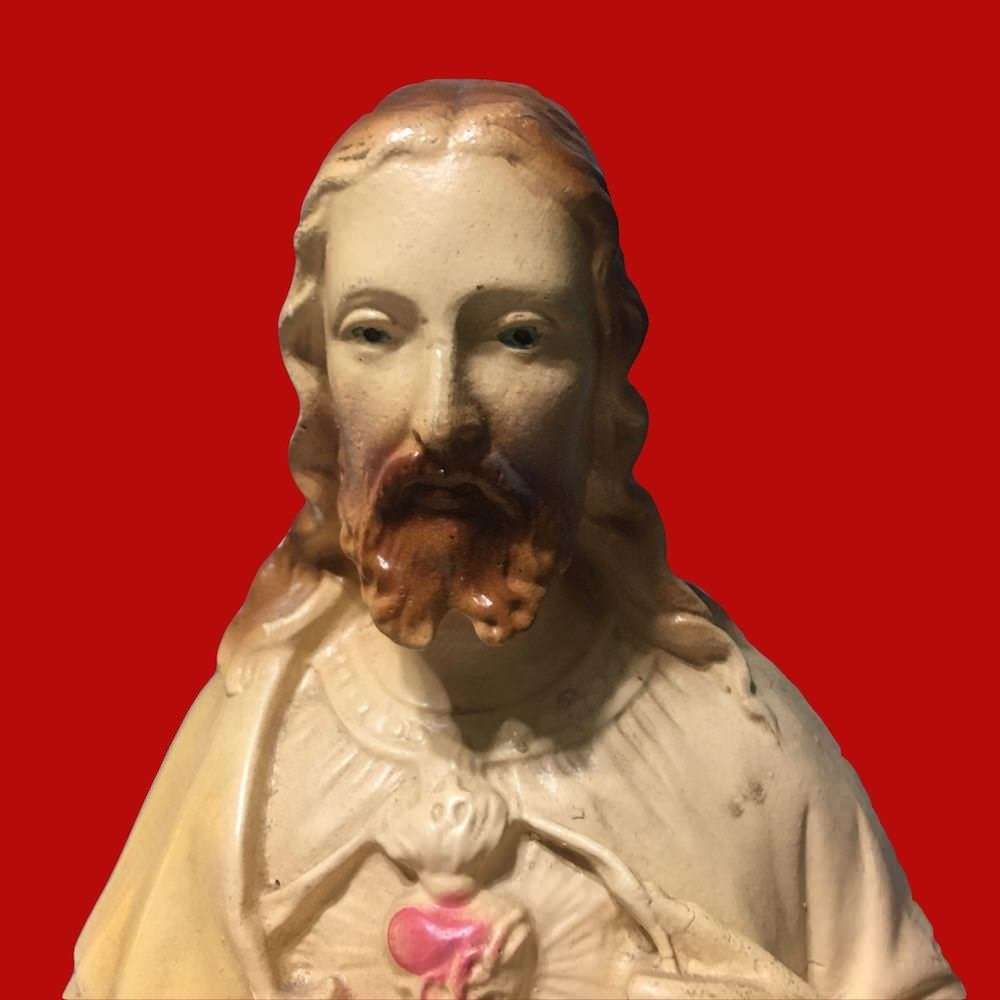 Tall Chippy Chalkware Sacred Heart of Jesus Statue 00868