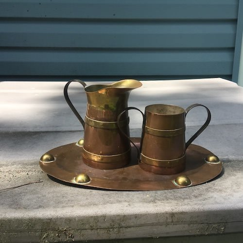 copper and brass cream and sugar with tray