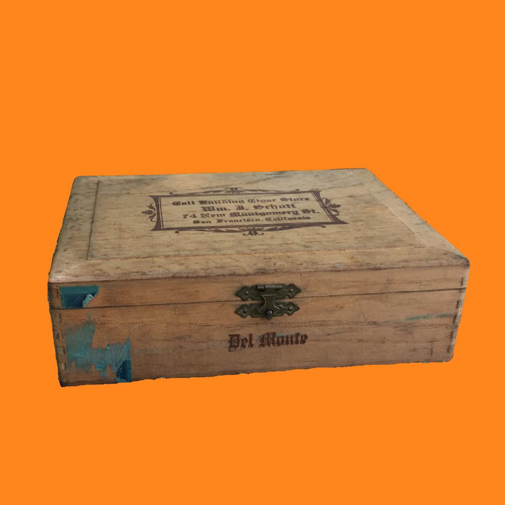 1930's Wooden Cigar Box Historic Call Building Cigar Shop San Francisco 00850