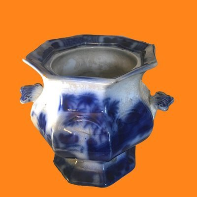 Antique Distressed Flow Blue Sugar Bowl Pot Marked ORIENT