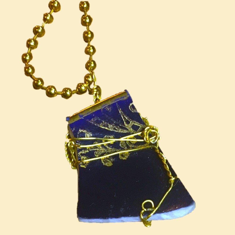 Royal Blue and Gold Wire Wrapped Broken China Necklace 00866