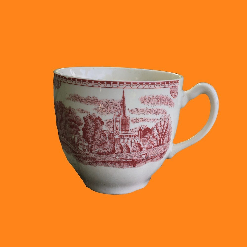 Johnson Bros Old Britain Castles Red Transfer Ware Cup 00860