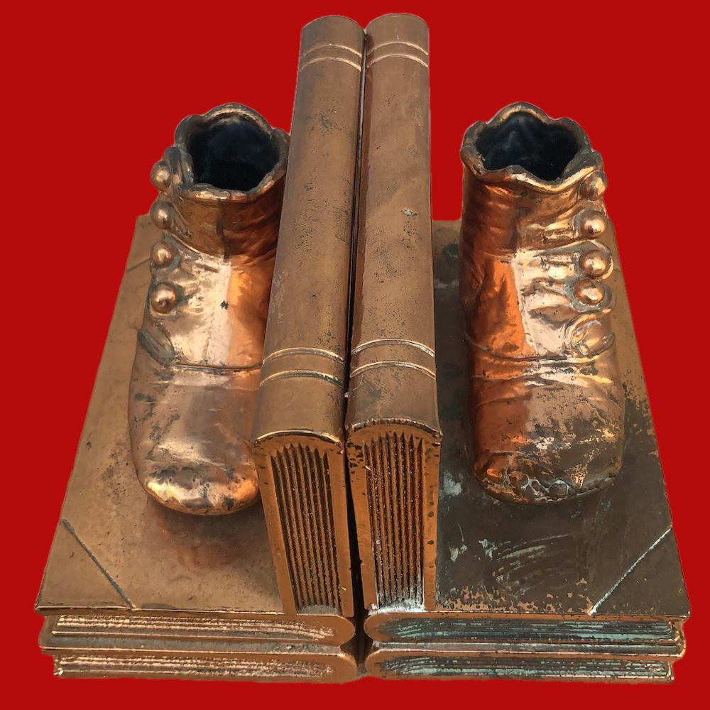 Vintage Bronzed Baby Shoe Bookends 01604