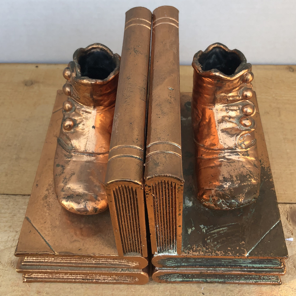 Vintage Bronzed Baby Shoe Bookends