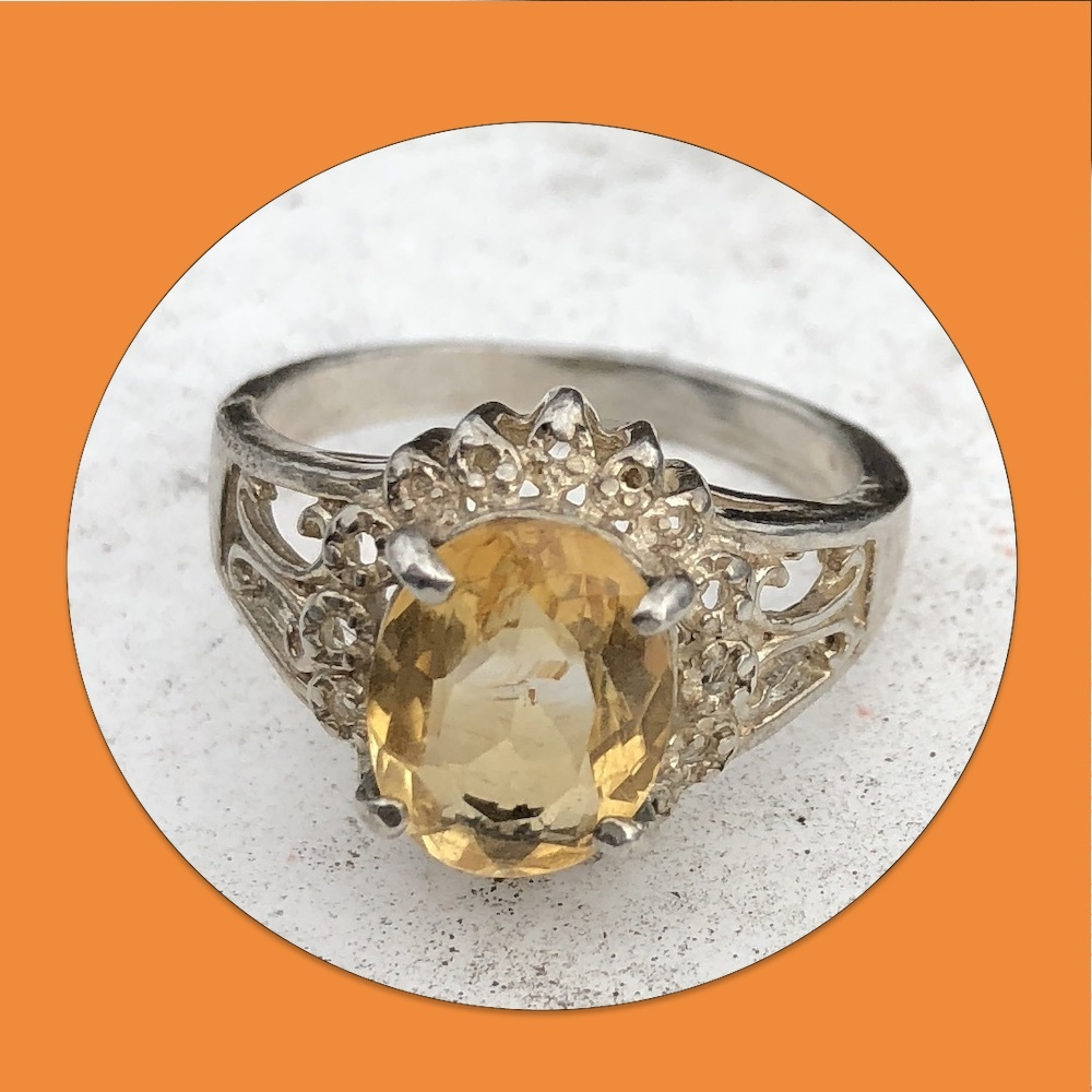 Vintage Yellow Topaz Sterling Silver Filigree Ring 01624