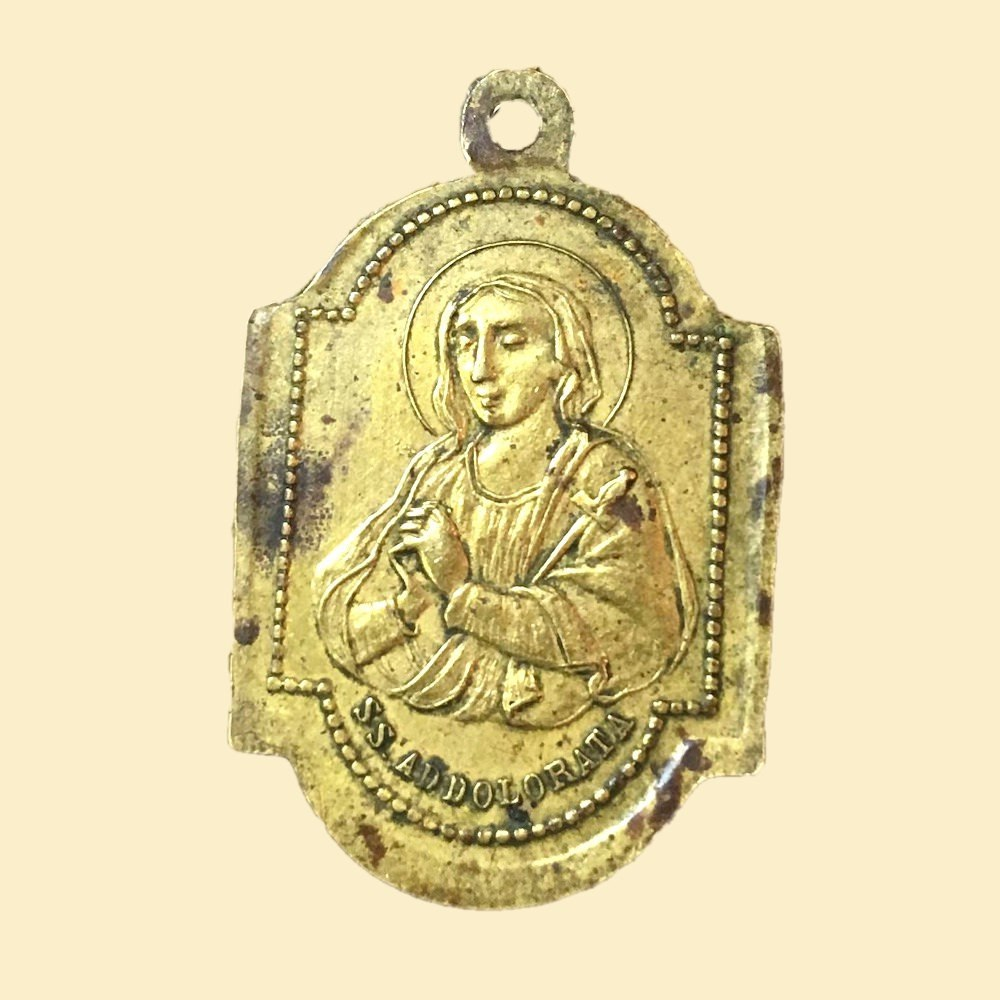 Vintage Brass SS Addolorata Medal Our Lady of Sorrows 00849
