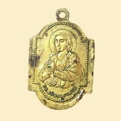 Vintage Brass SS Addolorata Medal Our Lady of Sorrows