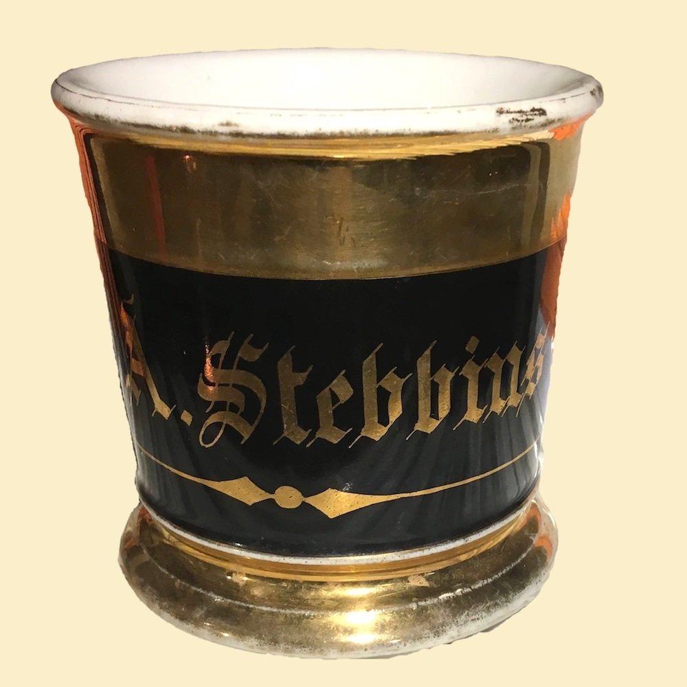 Antique Monogrammed Limoges Shaving Mug Marked Stebbins