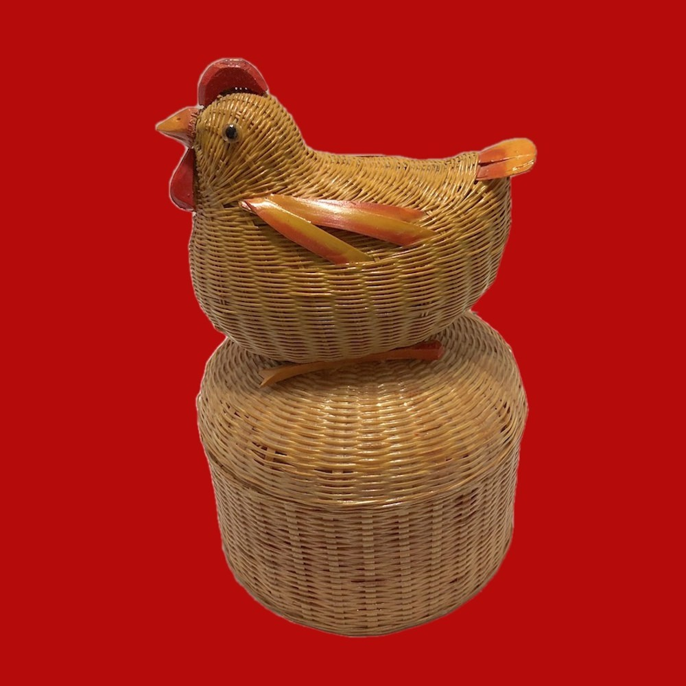 Vintage Republic Era Chinese Small Wicker Rattan Chicken Box 01646