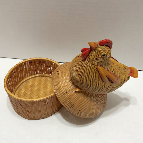 Vintage Republic Era Chinese Small Wicker Rattan Chicken Box