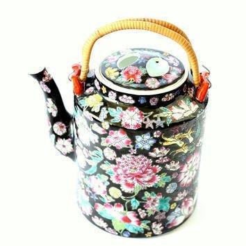 Chinese Rose Familia Ceramic Teapot LG (Black)