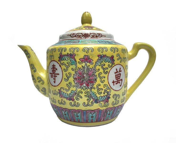​​Chinese Rose Familia Teapot Medium (Yellow)​