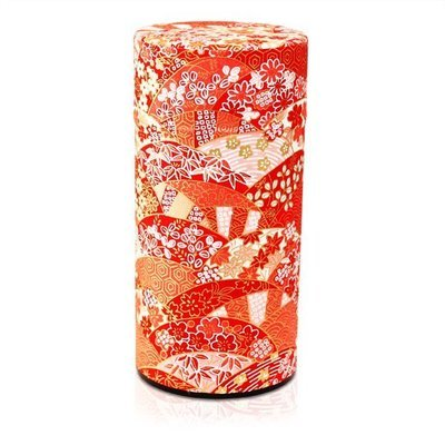 ​Japanese Fan Tea Canister (Red - 200g)