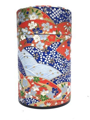 ​Japanese Fan Tea Canister (Blue - 150g)