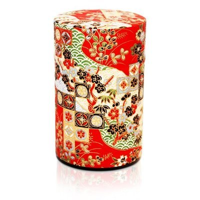 Seikaiha Tea Canister (Red - 150g)