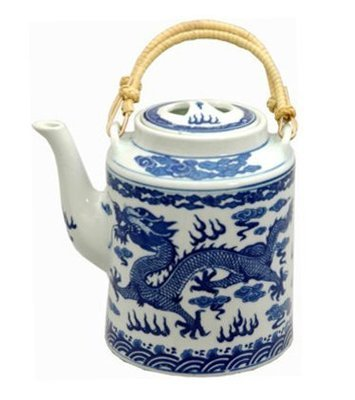 Classic Chinese Ming Dragon Tea Pot (Blue & White)