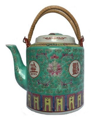 ​Chinese Rose Familia Teapot LG (Green)