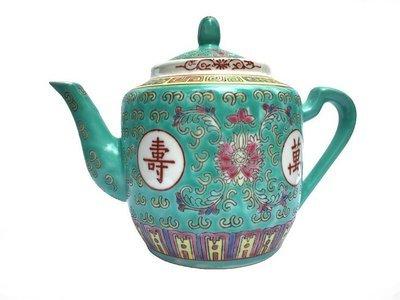 Chinese Rose Familia Teapot Medium (Green)
