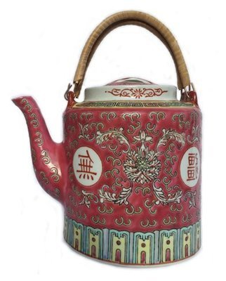 ​Chinese Rose Familia Ceramic Teapot LG (Red)