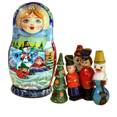 Winter Doll and Ornaments