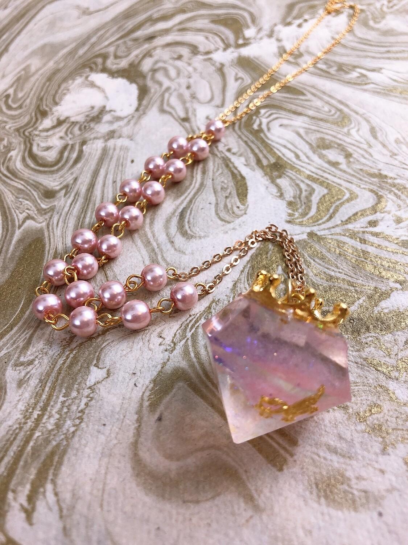crowned jewel necklace (pink pegasus)