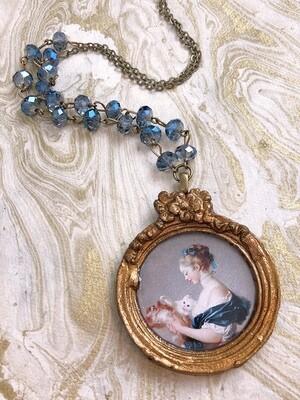 frame necklace (girl, dog, cat)